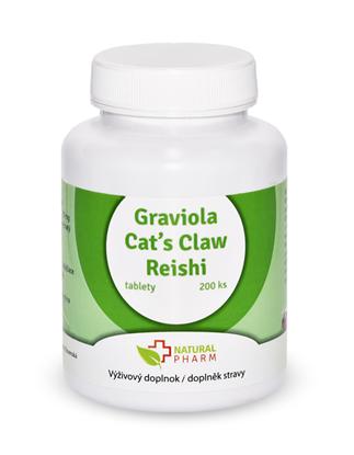 Obrázok pre výrobcu Graviola + Cat´s Claw/Mačací pazúr/ + Reishi  tablety 200 ks AKCIA!