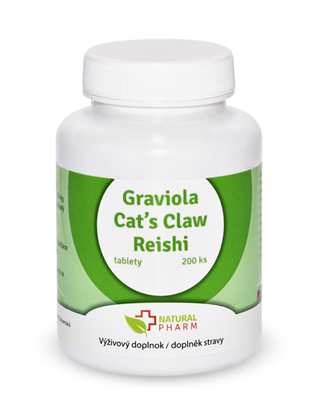 Obrázok pre výrobcu Graviola + Cat´s Claw/Mačací pazúr/ + Reishi  tablety 200 ks  Expirácia 03/2019