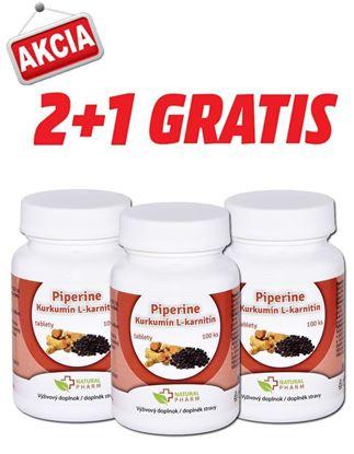 Obrázok pre výrobcu AKCIA 2+1: Piperine + Kurkumín + L-karnitín tablety 100 ks