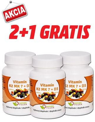 Obrázok pre výrobcu AKCIA 2+1: Vitamín K2 MK-7 + D3 tablety 100 ks
