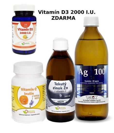 Obrázok Imunita - Vitamín C, Zinok, koloidné striebro + Vitamín D3 ZDARMA